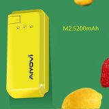Banco de energia portátil pequeno 5200 mAh com design de cores diferentes