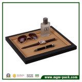 Alta calidad de cuero de la PU / bandeja de la exhibición de la joyería de madera Negro