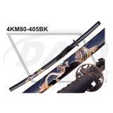 """40.55 """"Maçaneta de madeira total Katana com lâmina polida de aço carbono: 4km100-405wh"""