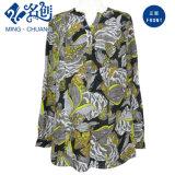 Многоцветные кнопка длинной втулки ослаблены Fshion дамы блуза женщин одежду