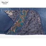 Повелительницы Miss Вы Ailinna 102338 помыли платье способа джинсовой ткани длиннее