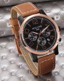 Tira de couro de marcação de grandes homens Relógios de quartzo Vintage Moda assista à prova de relógios de Homem Multifunção