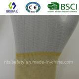 13G белый полиэфир Nliner с белой перчаткой работы покрытия конца перста PU (SL-PU205)