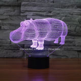 Nova lâmpada de mesa colorida, rinoceronte visual LED 3D Night Lights para presente de aniversário