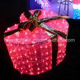LEDのギフト用の箱ライトをつける屋外の休日の装飾