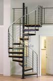 Escalier spiralé de chêne de semelle intérieure en bois avec la pêche à la traîne d'acier inoxydable