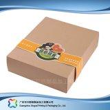 Rectángulo de empaquetado pila de discos plano barato del alimento del plegamiento del papel de Kraft con la funda (xc-cbk-003)
