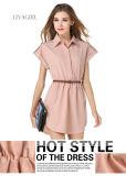 2017 Le style européen élégant col chemise fashion robe en mousseline (17019)