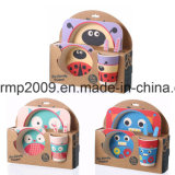 Fibre de bambou écologique de la vaisselle dîner Enfants de 5 pièces avec la plaque bol Gobelet