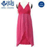 Peach V-Neck Low CUT Sexy Young Ladies Evening Dress with Shoulder Straps