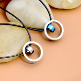 De paren vormen Halsband van de Tegenhanger van de Ringen van het Roestvrij staal van Juwelen de Dubbele