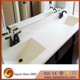 Pierre de quartz blanc poli mousseux Haut de la vanité d'un comptoir pour salle de bains