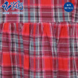 Newstyle Red Rayon Plaid manga larga cuello redondo vestido suave