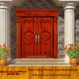 Festes Holz, das hölzerner Tür-außeneingangs-doppelte Tür (XS1-019, schnitzt)