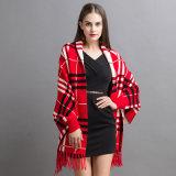 Moda Mujer Marcada acrílico tejido cachemir chal con flecos de invierno (YKY2070)