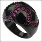 Moda Negro Zircon Púrpura Anillos De Acero Inoxidable
