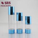 SRS cosmétique plastique vide de couleur bleue bouteille Airless 50ml
