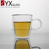 самая горячая ручной работы двойная стена 300ml стеклянная чашка чая/кофеего/молока с сопротивлением жары ясности боросиликата ручки кристаллический