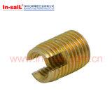 Noix encochée par garniture intérieure auto-fileteuse en laiton de l'amorçage M6 pour des plastiques