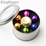 6 hilanderos coloridos de la mano del metal de las bolas