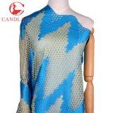 Вышивка ткани шнурка платья Турции тканья Candlace голубая