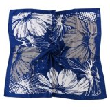 Silk o Polyester naturale Abitudine-ha fatto Floral Printed Scarf Navy White Flowers (LS-32)