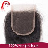 バージンのモンゴルの毛のレース4× 4まっすぐな人間の毛髪の織り方