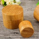 Venta caliente de plástico de madera de bambú tarro de crema cosmética