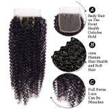 Верхнюю часть волос моды продукты бразильского Реми Kinky волос вьющихся кружева закрытия 100% волос человека 4X4 три части с ребенком волосы хорошего качества