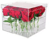 صنع وفقا لطلب الزّبون واضحة لون 9 [روس] أكريليكيّ زهرة صندوق مع غطاء