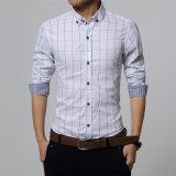 Herbst-nehmen der neuen Form-Mann-Männer passendes langes Hülsen-Baumwollhemd-Plaid-Hemd ab