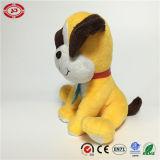 Giocattolo farcito molle eccellente del cane della caratteristica ricamato seduta gialla
