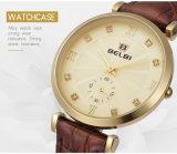 O ouro ocasional do relógio das mulheres do couro de quartzo do projeto do diamante de Belbi, preto, prateia a cor três para escolher T/T, L/C, Western Union, Paypal, Alipay dado boas-vindas toda