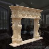 Scultura di marmo classica del camino di colore giallo caldo di vendita in 2018