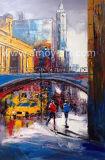 手塗りの印象的な通り場面油絵