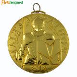 리본과 금 색깔을%s 가진 형식 금속 메달