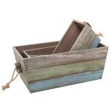 Diseño de la banda de almacenamiento cajas cajas de madera con asas de cuerda