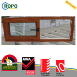 Окно рамки деревянного цвета двойной застеклять сползая окна UPVC пластичное