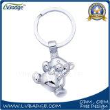 Anello portachiavi d'argento operato del metallo dell'orso 3D per i regali del capretto