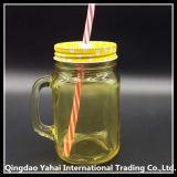 frasco de pedreiro 450ml de vidro colorido amarelo