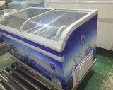 congélateur d'île de poitrine de porte incurvé par 550L pour le supermarché avec du ce, CB