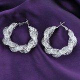 Pendientes plateados plata del cristal de la aleación de la joyería de la manera