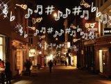 De mooie Muzikale LEIDENE Lichte OpenluchtDecoratie Stree van het Motief