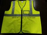 Veste da segurança com tela de confeção de malhas Pocket do verde 100%Polyester da gripe da identificação