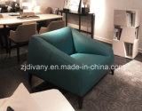 Sofà di cuoio blu di stile italiano di modo singolo (D-76A)
