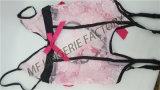 Matériau de maillage Whosale plus sexy de la taille de la lingerie rose avec jarretière