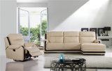 Sofá de la sala de estar con el sofá moderno del cuero genuino fijado (751)