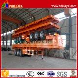 Tri Assen 20/40ft Flatbed Aanhangwagen van de Container van het Slot van de Container Semi