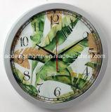 Orologio di parete rotondo di plastica argenteo con il disegno tropicale di Forrest della pioggia per la decorazione domestica della camera da letto