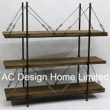 3 Reihe-antikes Weinlese-dekoratives hölzernes/Metallbuch-Regal modern